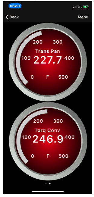 Tundra owners screenshot of transmission fluid temps