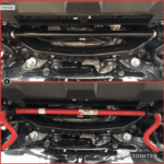Showing the TRD Pro anti-sway bar versus the stock sway bar.